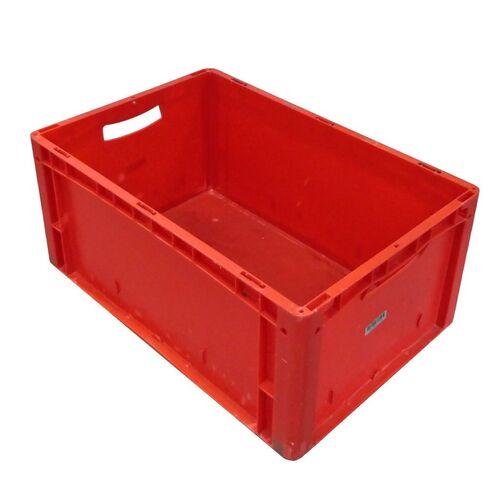 Gebruikte kunststof stapelbak, transportkrat 600x400x270 rood