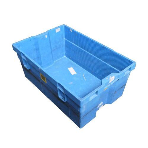Gebruikte nestbare kunststof magazijnbak, transportkrat 600x400x250mm (lxbxh) blauw