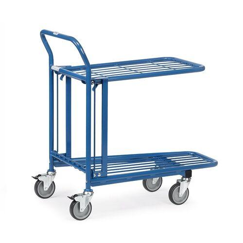 Cash & carry wagen, transportwagen 300 kg van staal met 2 verstelbare etages en duwbeugel 715x455