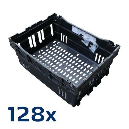 Palletaanbieding 128 stuks gebruikte magazijnbak stapelbaar nestbaar 400x300x180 zwart