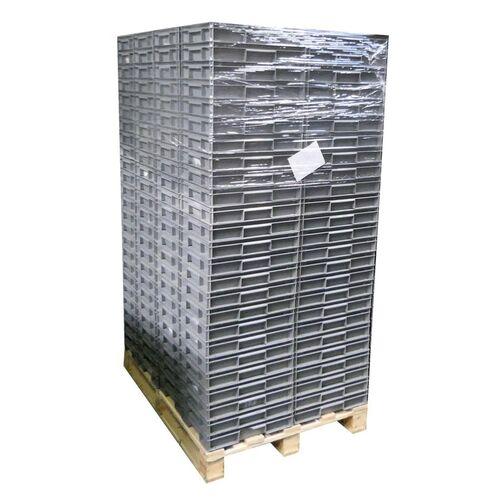 Palletaanbieding 200 gebruikte stapelbare magazijnbakken 400x300x72mm (lxbxh) antraciet
