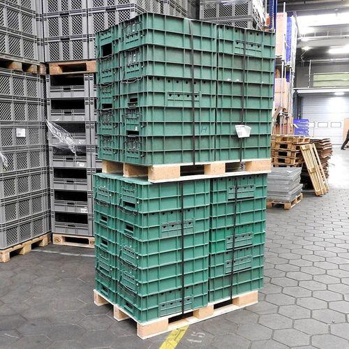 Palletaanbieding 20 gebruikte grijpbakken, stapelkratten 600x400x220 groen