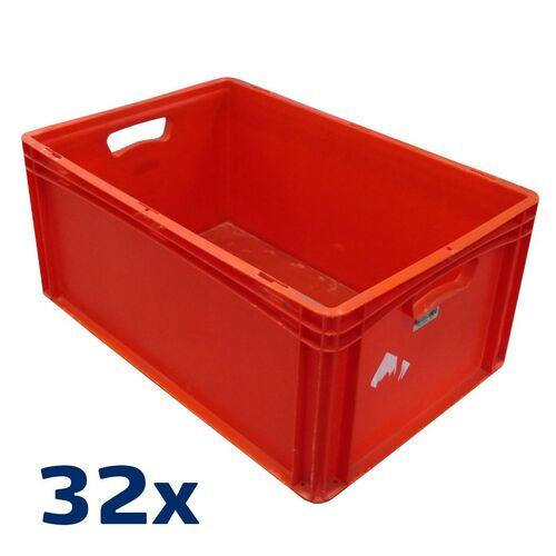 Palletaanbieding 32 gebruikte kunststof stapelbak, transportkrat 600x400x270 rood