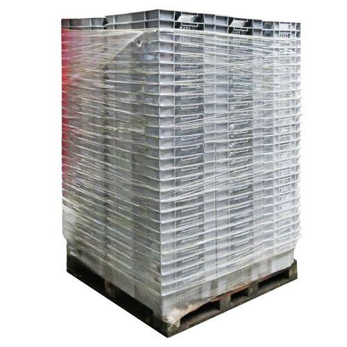 Palletaanbieding 72 gebruikte nestbare kunststof stapelbak, transportkrat geperforeerd 600x400x200mm grijs