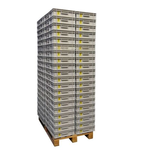 Palletaanbieding gebruikte kunststof stapelbak, transportkrat 600x400x117mm (lxbxh) grijs met kartonnen doosjes
