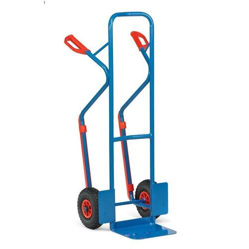 Stalen steekwagen 300 kg 1300 mm met luchtbanden en glijstrips