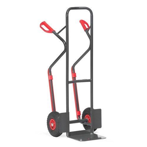 Stalen steekwagen 300 kg 1300 mm met luchtbanden en glijstrips antraciet