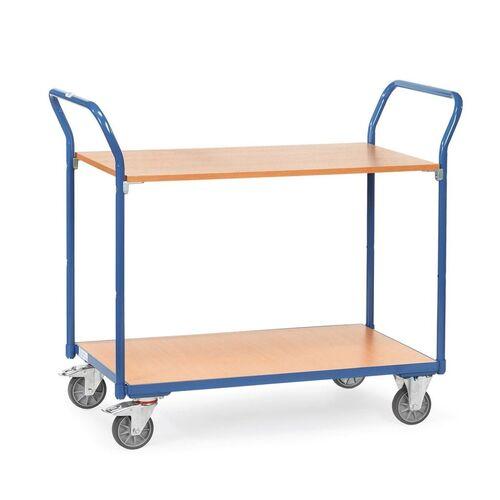 Tafelwagen 200 kg met 2 houten etages en dubbele duwbeugel 850x500