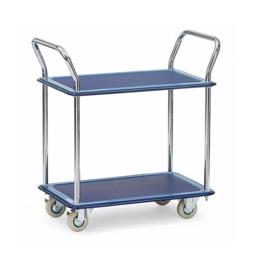 Tafelwagen, transportwagen 120 kg van staal met 2 etages en 2 duwbeugels 740x480