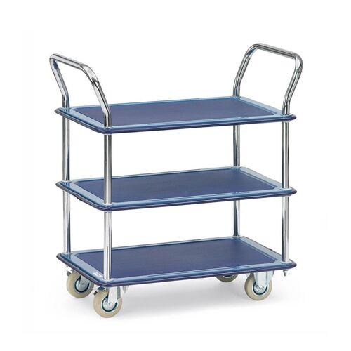 Tafelwagen, transportwagen 120 kg van staal met 3 etages en 2 duwbeugels 740x480
