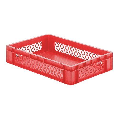 Transportkrat Euronorm plastic bak, krat TK1 600x400x120 rood