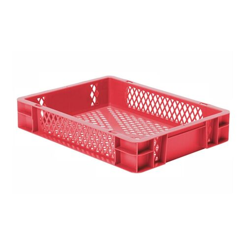 Transportkrat Euronorm plastic bak, krat TK2 400x300x75 rood