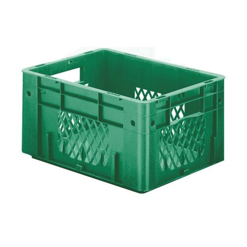 Zware transportkrat Euronorm plastic bak, krat VTK1 400x300x210 groen