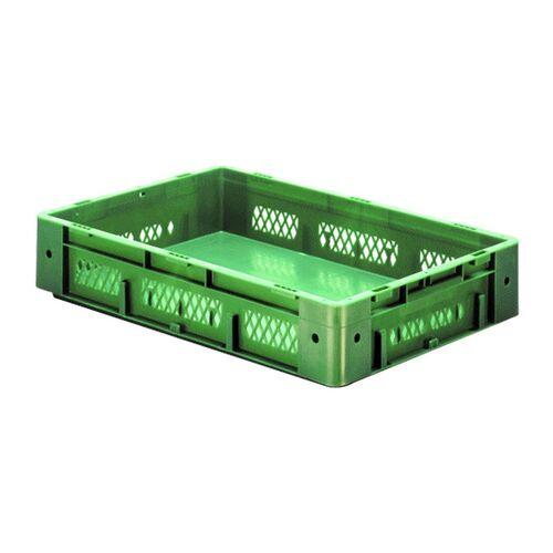 Zware transportkrat Euronorm plastic bak, krat VTK1 600x400x120 groen