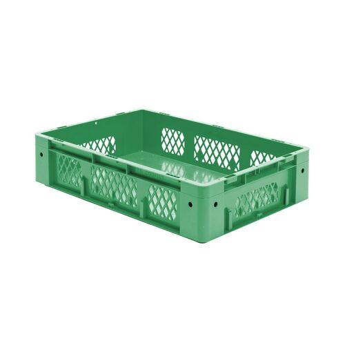 Zware transportkrat Euronorm plastic bak, krat VTK1 600x400x145 groen