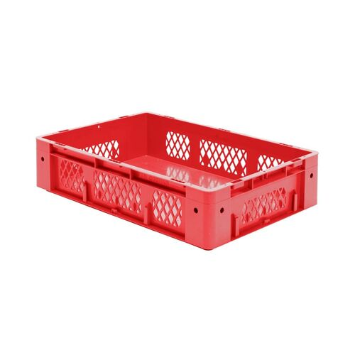 Zware transportkrat Euronorm plastic bak, krat VTK1 600x400x145 rood