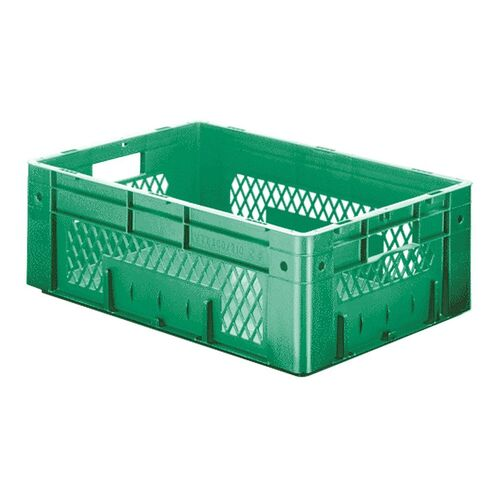 Zware transportkrat Euronorm plastic bak, krat VTK1 600x400x210 groen