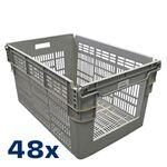 Palletaanbieding 48 gebruikte magazijnbak stapelbaar, nestbaar 600x400x310 grijs