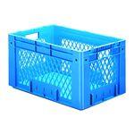 Zware transportkrat Euronorm plastic bak, krat VTK1 600x400x320 blauw